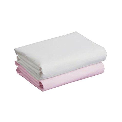 Cuddles Collection Single Cot Bed Sheets (White/Pink, 2 Single Sheets)