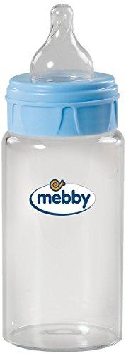 Mebby Glass Baby Bottle with Silicone Teat (270 ml, Blue)