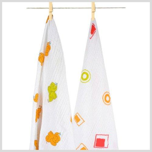 Aura Weavers 2 Count Muslin Swaddle Blankets, Fashion Fiesta, Large