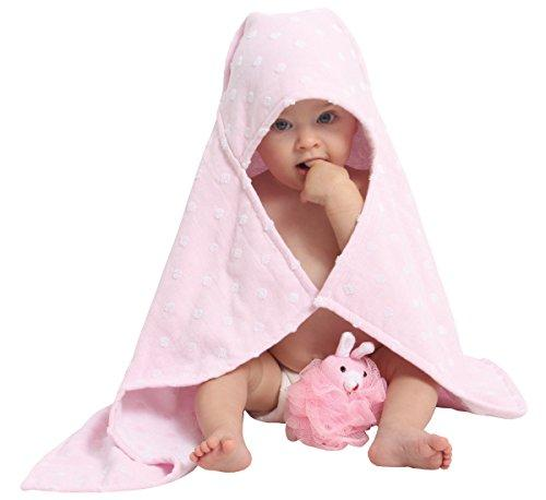 AM PM Kids! Hooded Towel with Baby Loofah, Pink Dot