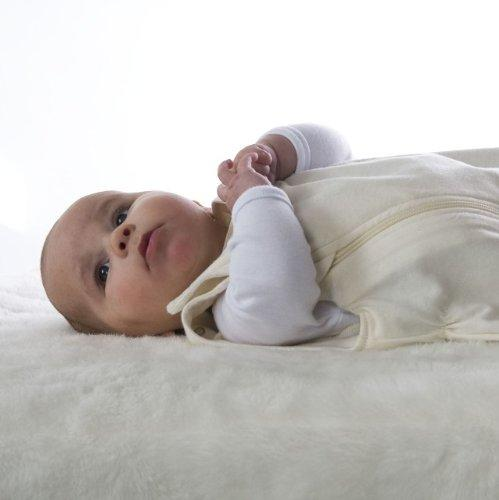 Lola and Ben 4-Seasons-in-1 Bag Organic Cotton Baby Sleeping Bag in Natural Cotton with No Print and Seasons Merino Liner