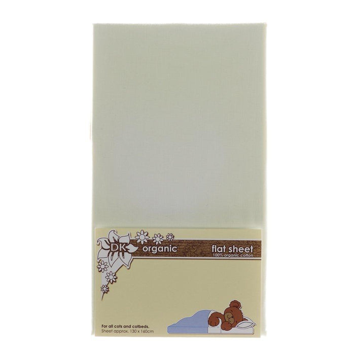 DK Glovesheets Flat Sheet for Cots and Beds (Organic Cream)