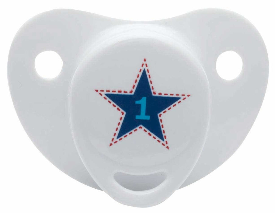 bébé-jou 320047 Silicone Dummy 0+M 123, Blue/White/Red