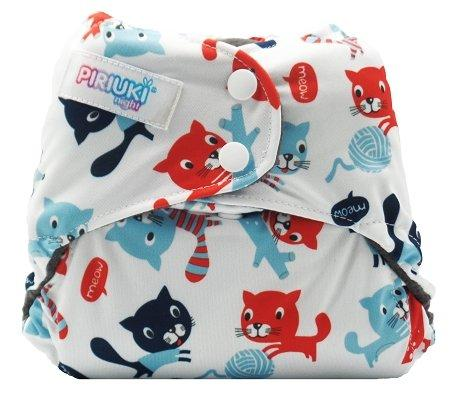 Piriuki Night Pocket Diaper (One Size, Meow Meow)