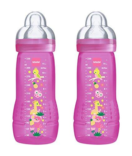 MAM Coloured 2Nd Age 330ml Bottle 6 Months Debit Teat (Pack of 2