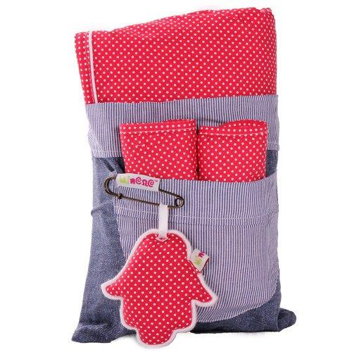 Minene Universal Pushchair Stroller Pram Buggy Liner Footmuff Cosytoes Car Seat with safety straps ( Red Pola Dot)