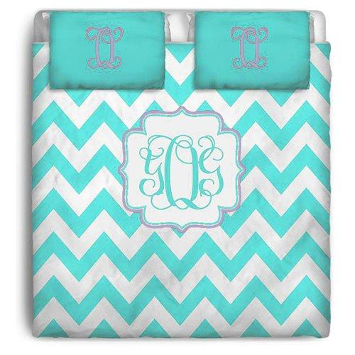 aBaby Aqua Chevron Custom Personalized Toddler Bedding, Turquoise Carter