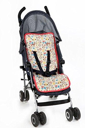 MeZooMe 100 Percent Organic Cotton Reversible Cushion Padded Stroller Liner (Coral)