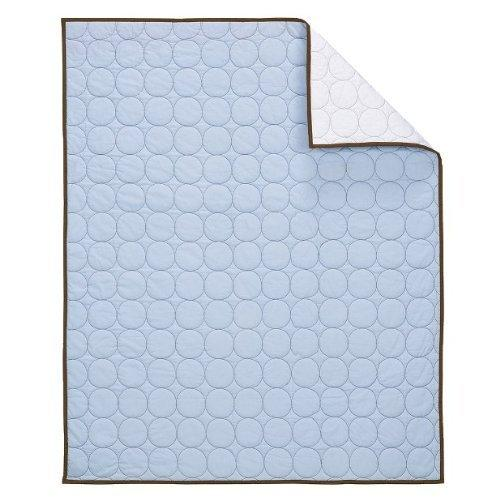 Bacati Quilted Circles Blue and Chocolate Crib Quilt