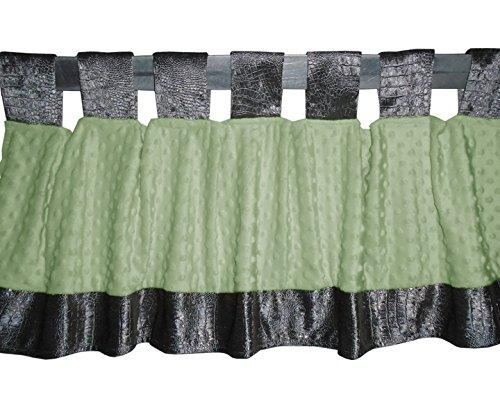Baby Doll Bedding Croco Minky Window Valance, Grey/Sage