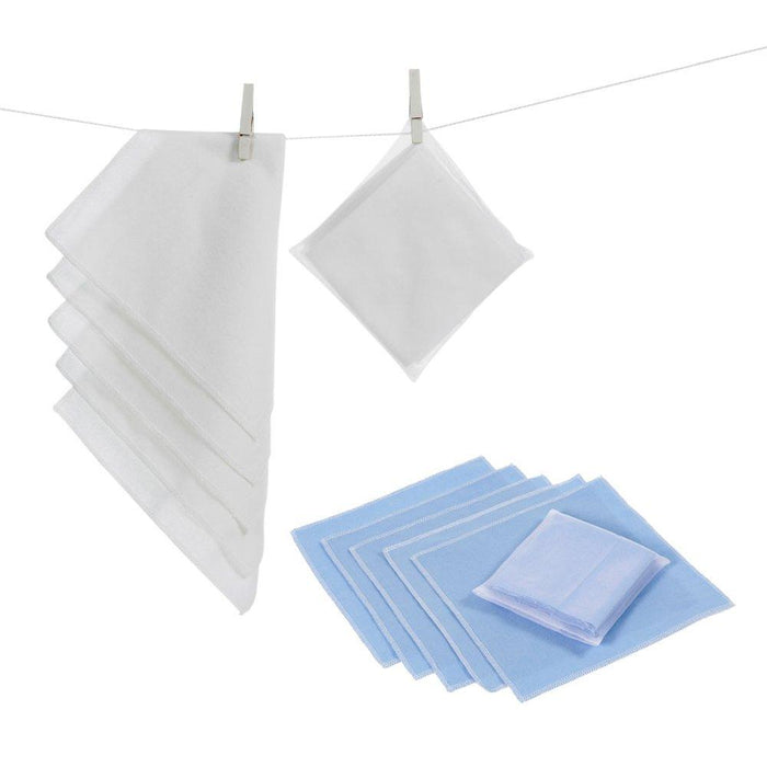Baby Corner Cotton Flannelette Burp Cloth (Pack of 3, White/ Blue)