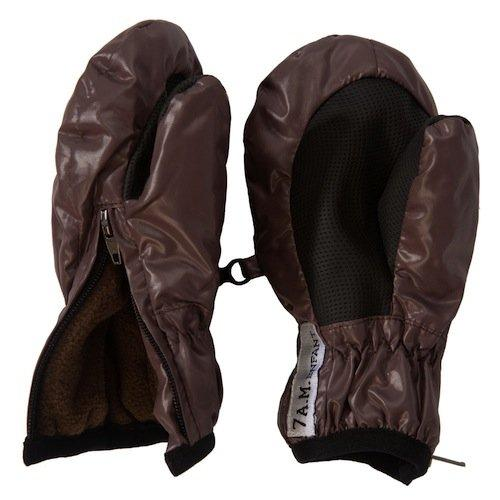 7 AM Enfant, Mittens with zipper, X-Large, 2-4 years old (Brown) (Braun)