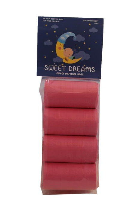 Sweet Dreams 120 Count Scented Diaper Disposal Bags, Pink, 8 Rolls