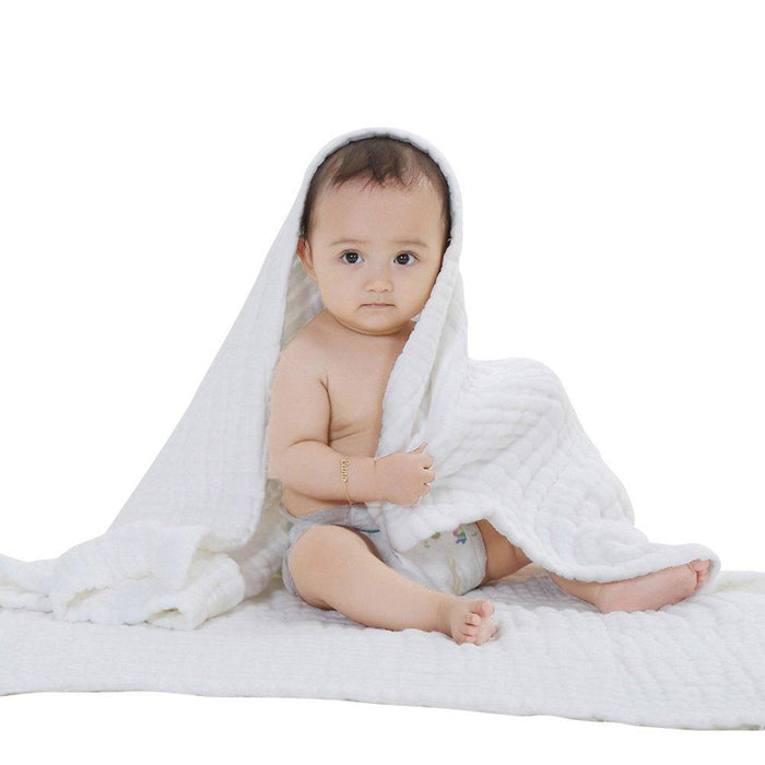 Primebabe 6 Layers Baby Bath Towel, Cotton Soft Cozy Swaddle Blanket, White, 1 Pack