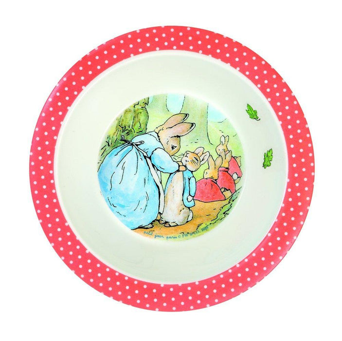 Peter Rabbit Melamine Bowl Red Spot Rim