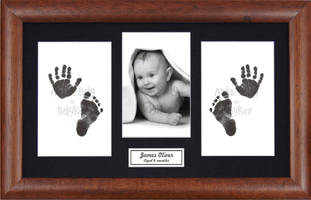 Anika-Baby BabyRice Baby Hand and Footprints Kit includes Black Inkless Prints/ Dark Wooden Frame with Black Mount Display