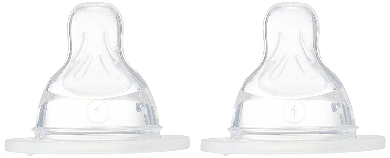 MAM Anatomic Dummy 1 Slow Flow - Silicone - Pack of 2 - Transparent