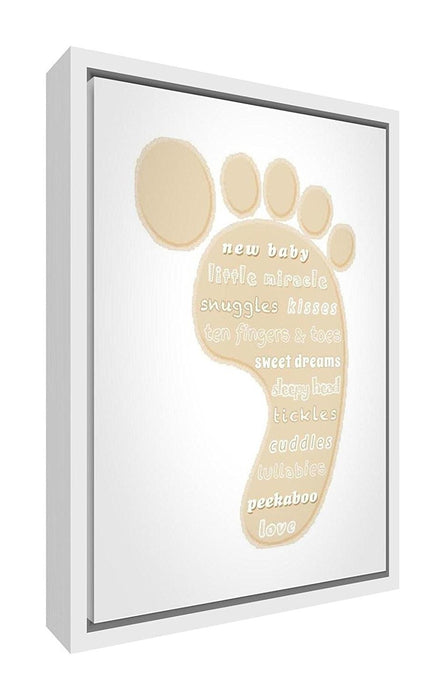 Feel Good Art Eco-Printed and Framed Nursery Canvas with solid White ...