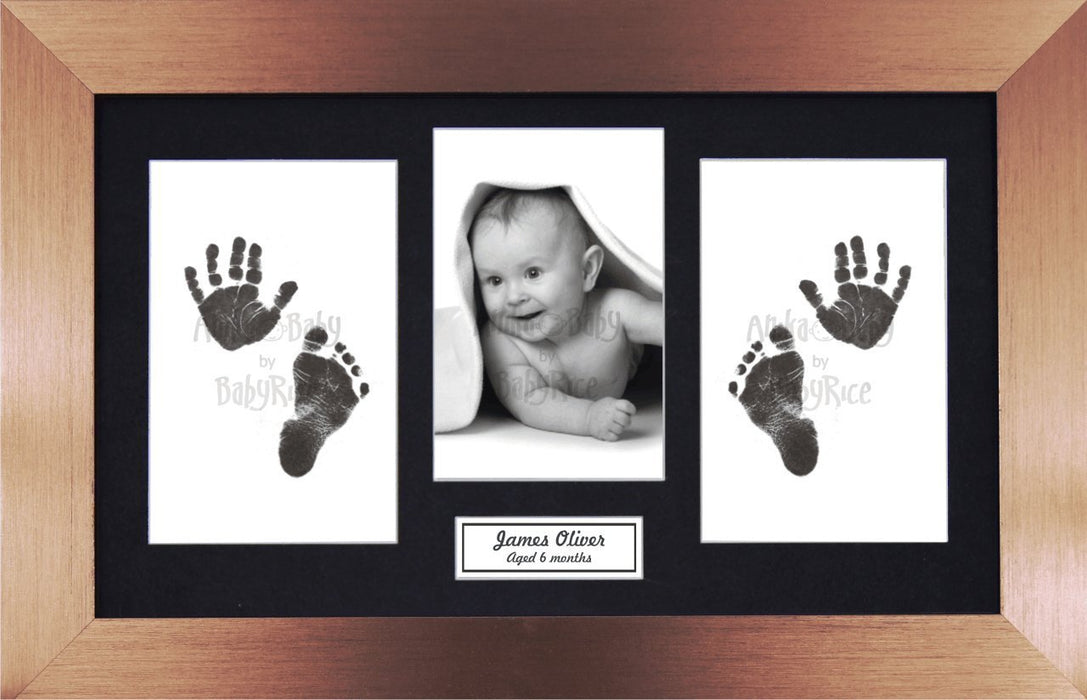 Anika-Baby BabyRice Baby Hand and Footprints Kit includes Black Inkless Prints/ Bronze Frame with Black Mount Display