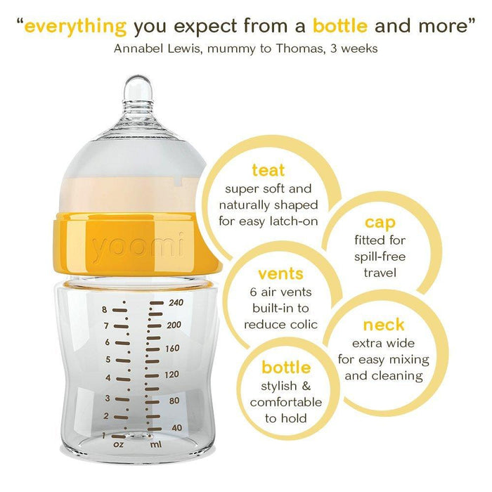 Yoomi 8 oz Feeding Bottle Slow Flow Teat (Pack Of 2)