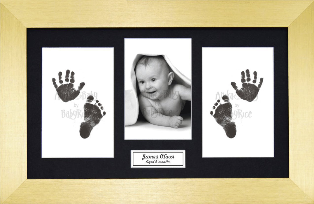 Anika-Baby BabyRice Baby Hand and Footprints Kit includes Black Inkless Prints/ Gold Frame with Black Mount Display