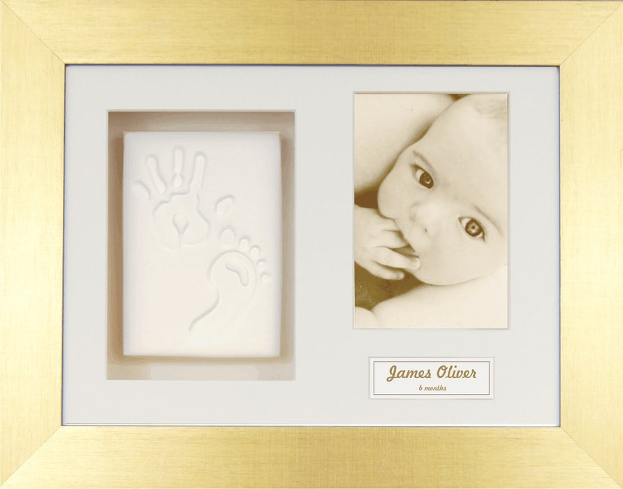 Anika-Baby BabyRice Baby Handprint Footprint Kit Soft White Clay Dough Brushed Gold Box Photo Display Frame