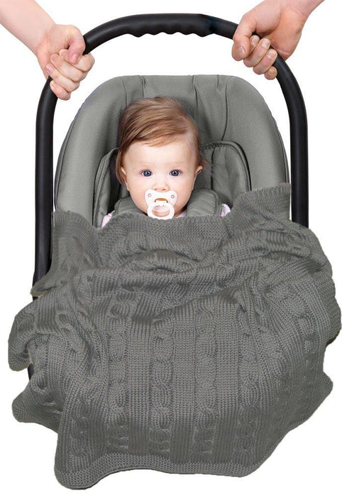 Wallaboo Baby Blanket Noa, 100% Organic Cotton, For Pram, Car Seat, Moses Basket, Crib,  Size 90 x 70 cm, Color: Grey
