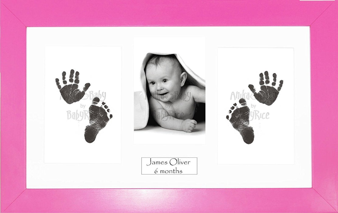 Anika-Baby BabyRice Baby Girl Hand and Footprints Kit includes Black Inkless Prints/ Pink Frame with White Mount Display
