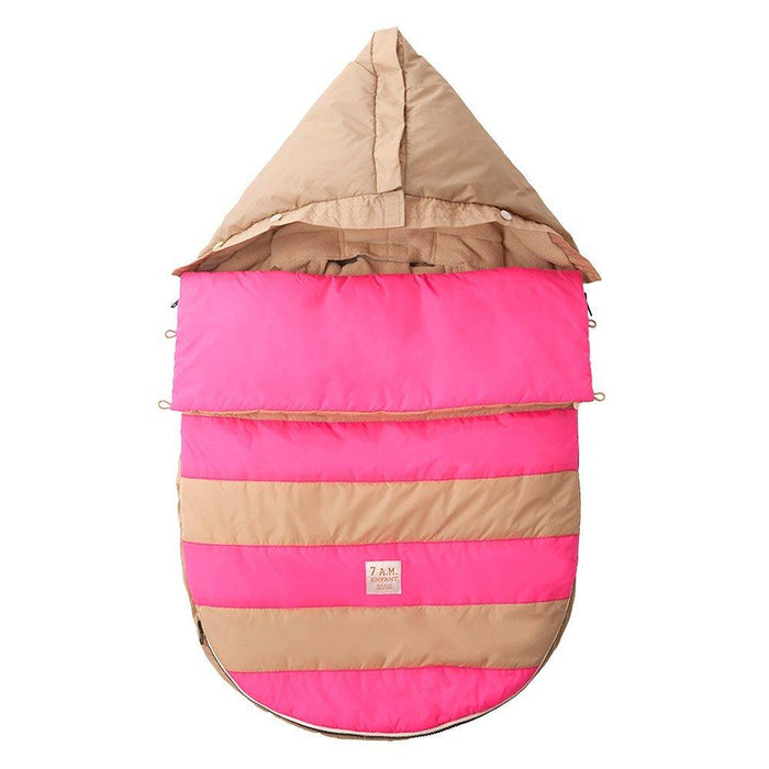 7AM Enfant Bee Pod Baby Bunting Bag for Strollers and Car-Seats with Removable Back Panel, Beige/Neon Pink, Small/Medium