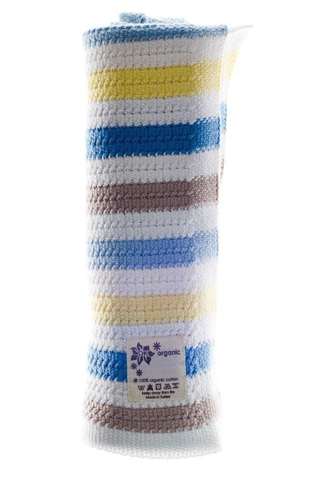 DK Glovesheets Baby Blanket for Prams/Cribs/Moses Baskets (Boy Blue/Grey/Yellow/Sky/White)