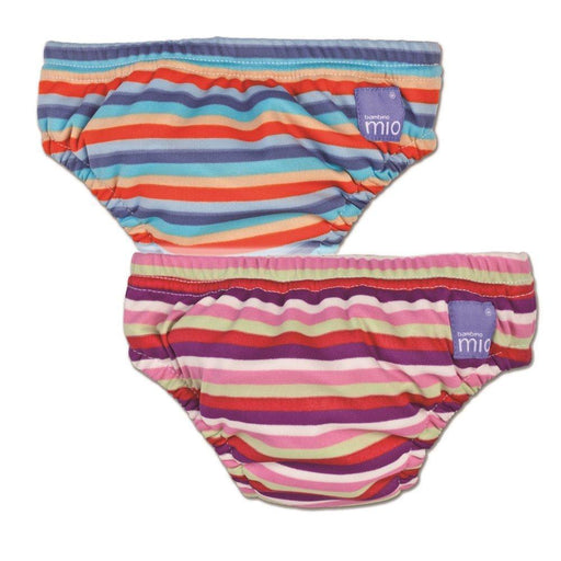 Vital Innovations Bambino Mio 2SWMXL-PS-OS Swim Nappy, Set of 2, Pink Stripes and Orange Stripes, X-Large