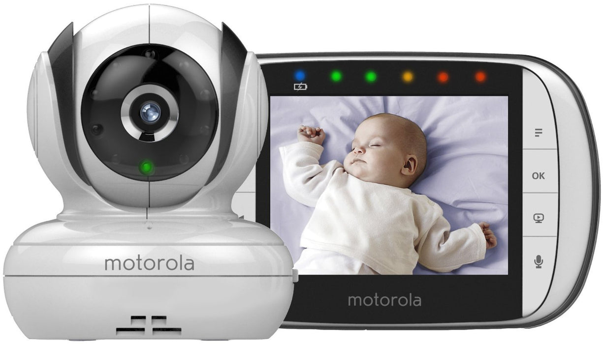 "Motorola MBP36S Digital Video Baby Monitor 3.5"" Colour LCD Display Featuring Pan Tilt Zoom On Parent Unit,Night Vision On Parent Unit,Two Way Talk Back,Babies Room Temperature Monitor And Lullabies"