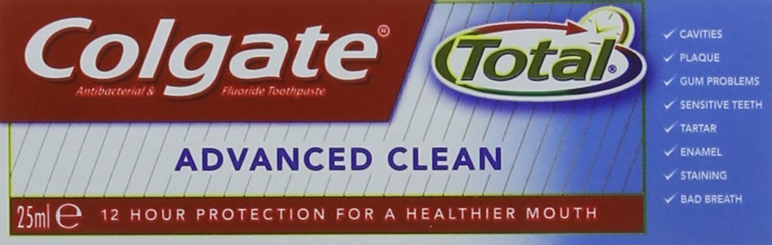 Colgate 25 ml Total Advanced Clean Antibacterial and Fluoride Toothpaste - Pack of 12