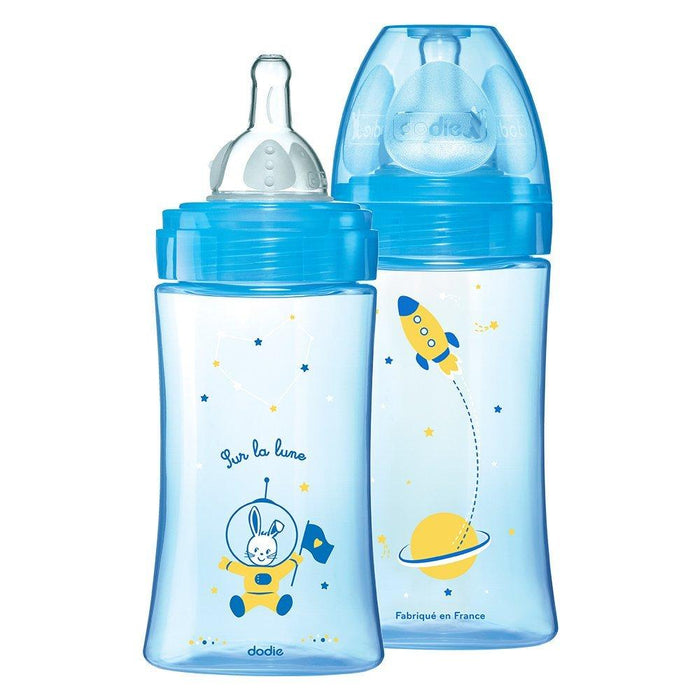 Dodie Initiation + Pack of 2 Feeding Bottles and 2 Teats 270ml (Blue and Turquoise)