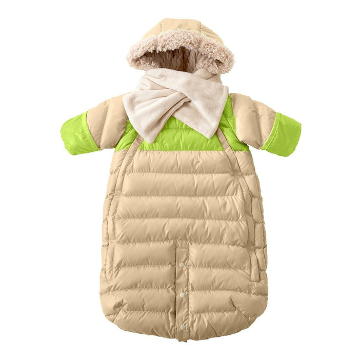 7AM Enfant Doudoune One piece Infant Snowsuit Bunting, Beige/Neon Lime, Small