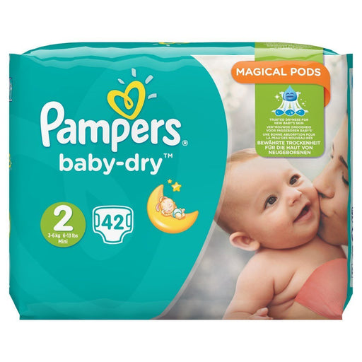 Pampers Baby-Dry Size 2, 3 – 6kg, 42 Nappies One Pack = 1 Immunisation Dose