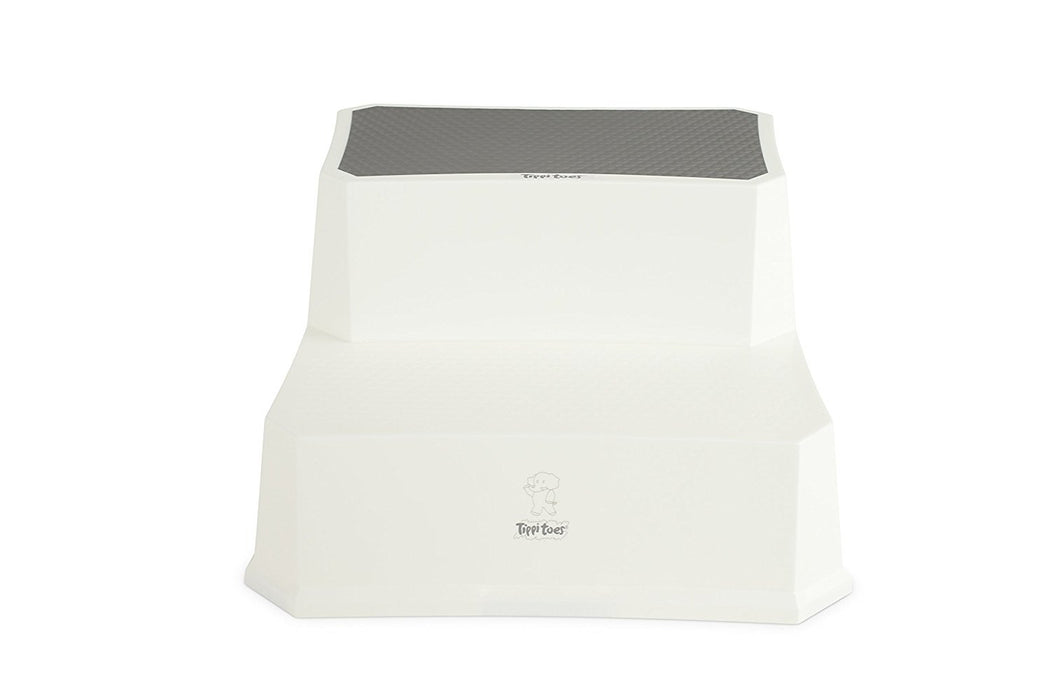 Tippitoes Step Up Stool White with Grey Trim
