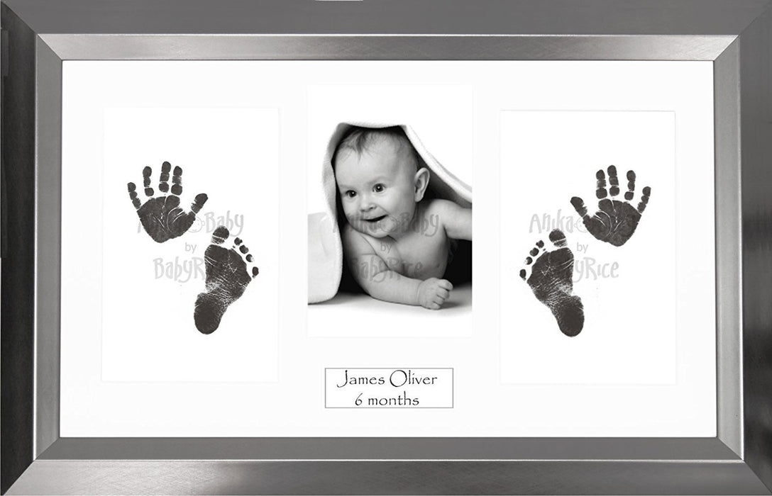 Anika-Baby BabyRice Baby Hand and Footprints Kit includes Black Inkless Prints/ Angled Pewter Frame with White Mount Display