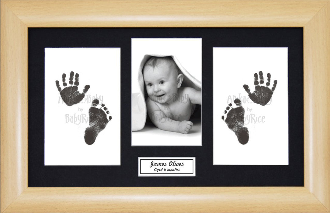 Anika-Baby BabyRice Baby Hand and Footprints Kit includes Black Inkless Prints/ Beech effect Frame with Black Mount Display