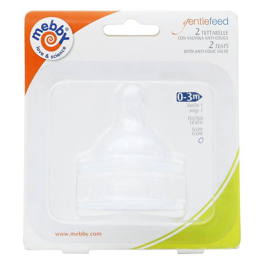 Mebby Gentle Feed Teats Slow Flow Anti-Collic PES Bottle (2 x Twin Packs , 4 Clear Teats, 0-3 Months)