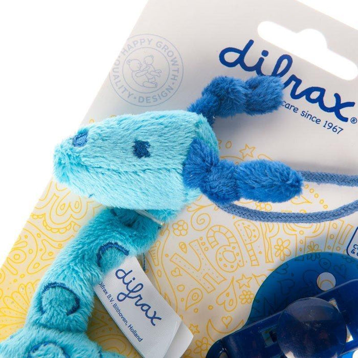 Difrax Plush Pacifier Clip and Holder (Giraffe Blue)