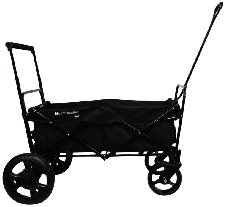GO-GO BABYZ FOLDING WAGON STROLLER CART with Push Handle and Rear Foot Brake, black