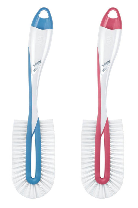NUK Twist 10256372 Flat Brush for Thorough and Gentle Cleaning of Baby Bottles with Teat Brush, Colour Cannot Be Selected