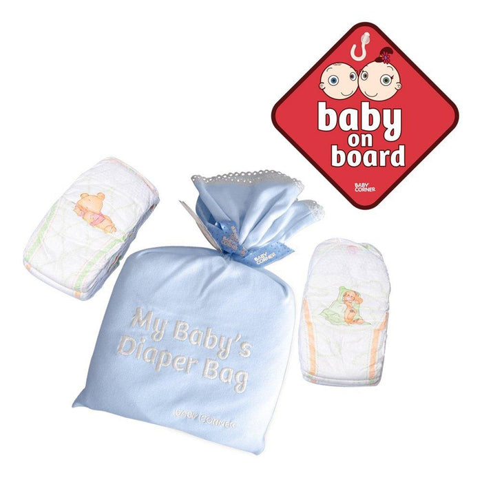 Baby Corner Cotton Boy Diaper Bag and Baby on Board (3-6 Months, Pack of 2, Blue)