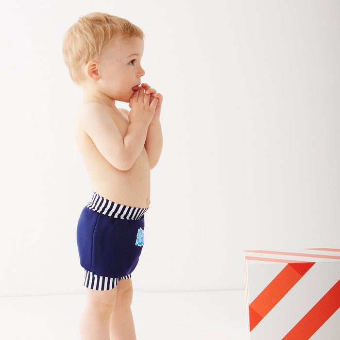 Splash About Kids' Reusable Swim Happy Nappy - Navy/White Stripe, X-Large (12-24 Months)
