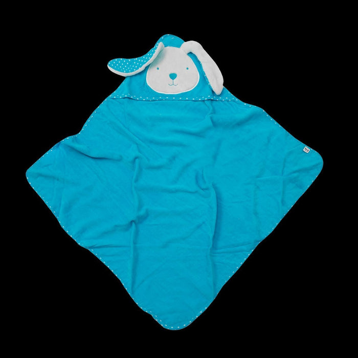 Tots by Smart Rike 180 – Hooded Towel, Joy Funny Bunny 80 x 80 cm – Blue