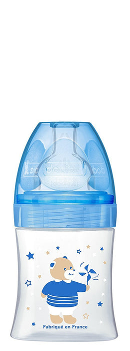 Dodie - Sensation 150ml Blue Bear Flat Teat Baby Bottle, 0-6 Months, Flow 1