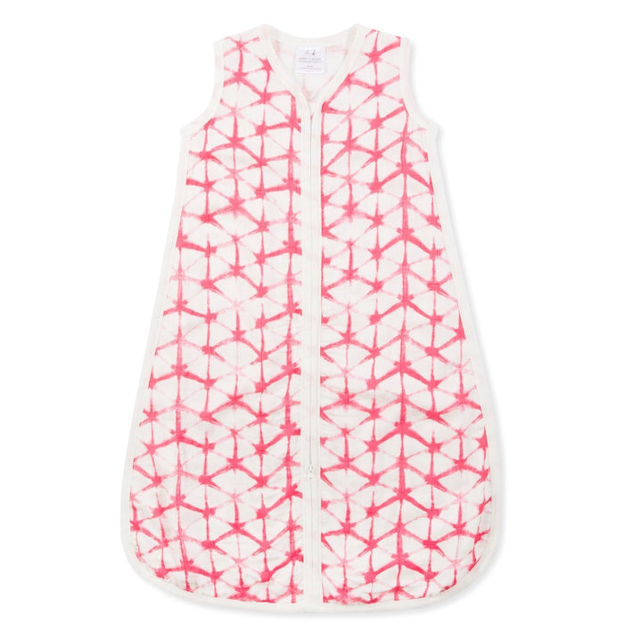 aden + anais Silky Soft Sleeping Bag, 1 tog, Medium, 6 To 12 Months, Berry Shibori/Cubed