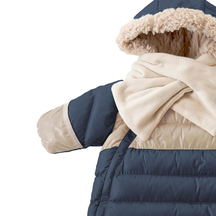 7AM Enfant Doudoune One Piece Infant Snowsuit Bunting, Midnight Blue/Beige