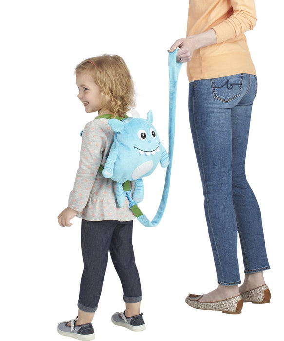Nuby 2 in 1 Harness Backpack, Monster, Blue, Child Leash, Baby Walking Safety Harness, Kid Backpack with Tether, Toddler Travel, Wrist Leash